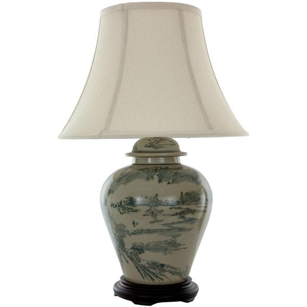 Terracotta Xian Landscape Vase Lamp (China)