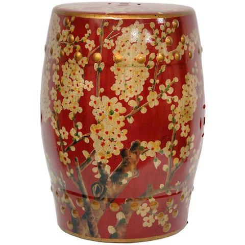 Handmade Green Birds and Flowers Porcelain Barrel Shaped Stool