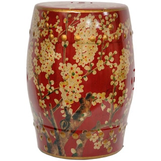 Handmade Green Birds and Flowers Porcelain Barrel Shaped Stool (China)