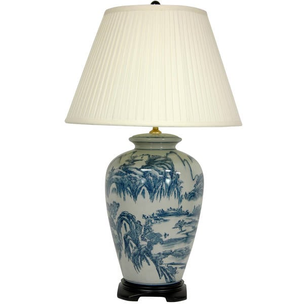 Blue and White Porcelain Chinese Landscape Lamp (China)
