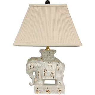 Handmade Ivory Ceramic Elephant Lamp (China)