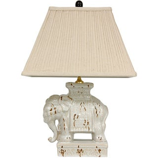 Ivory Ceramic Elephant Lamp (China)