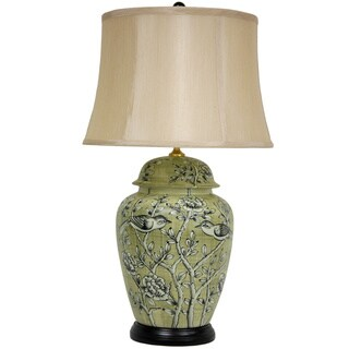 Handmade Russet Birds and Flowers Porcelain Vase Lamp (China)
