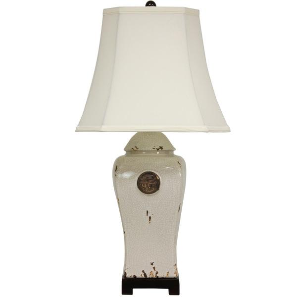 Crackle Ivory Glaze Medallion Porcelain Vase Lamp (China)