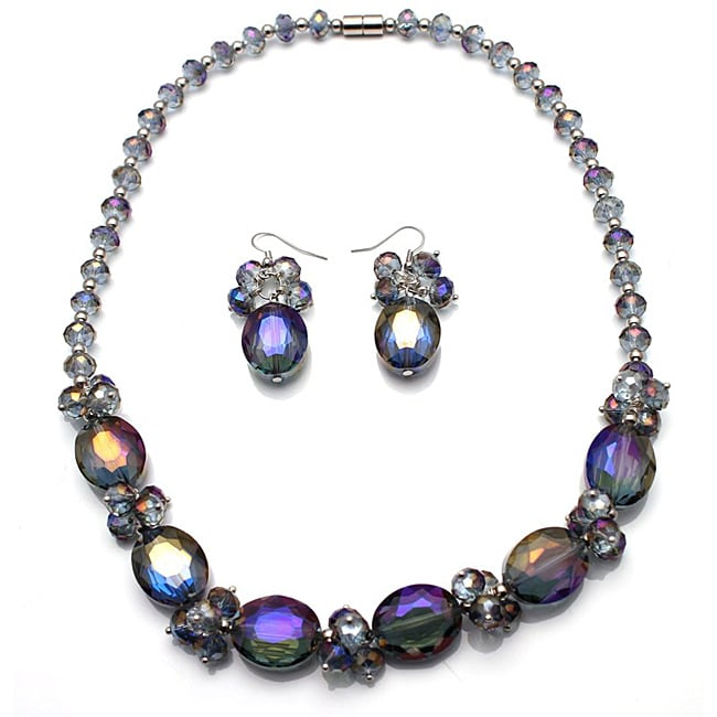 Bleek2Sheek Alexandrite Oval Crystal Necklace and Earring Set - Thumbnail 0