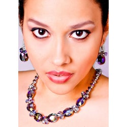 Bleek2Sheek Alexandrite Oval Crystal Necklace and Earring Set - Thumbnail 2