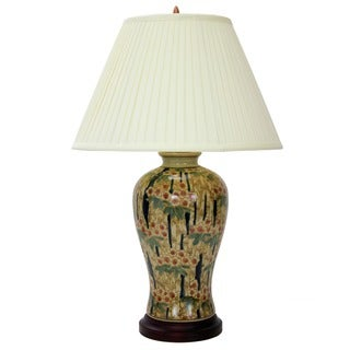 Artisan Verdant Glazed Chinese Porcelain Fishtail Vase Lamp with Shade