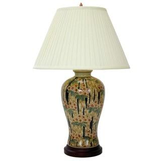 Artisan Verdant Glazed Chinese Porcelain Fishtail Vase Lamp with Shade