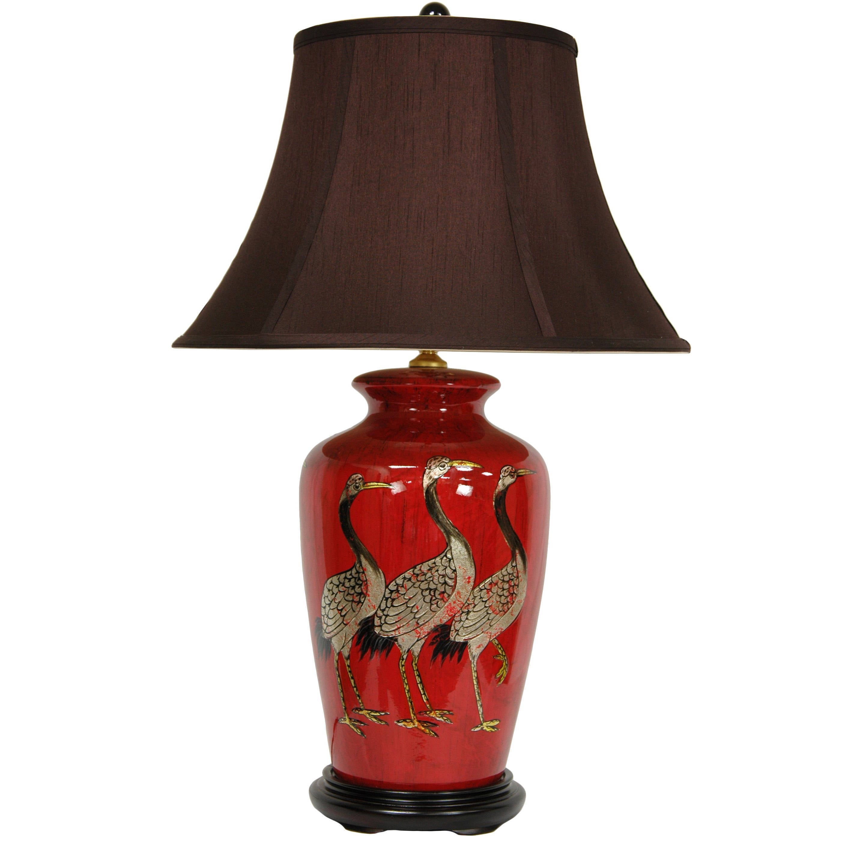 Red Crowned Cranes Porcelain Vase Lamp from China with Sa...