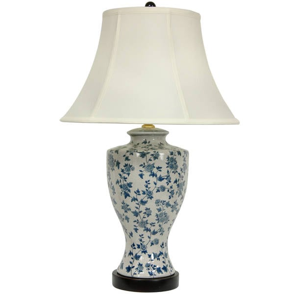 Handmade Blue and White Flower Vine Lamp with Off-white Fabric Shade (China)