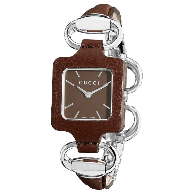 d927a4f6662 Shop Gucci Women s  1921  Bangle Style Brown Leather Watch - Free Shipping  Today - Overstock - 6345269