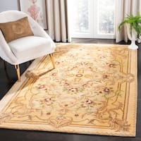 Safavieh Handmade Aubusson Creteil Beige/ Light Gold Wool Rug - 2' X 3'