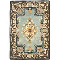 Safavieh Handmade Bliss Light Blue/ Ivory Hand-spun Wool Rug - 2' x 3'