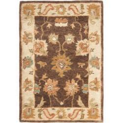 Safavieh Handmade Zeigler Brown/ Ivory Hand-spun Wool Rug (2' x 3')