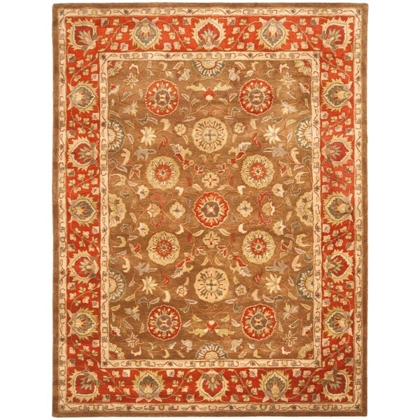 "Safavieh Handmade Heritage Timeless Traditional Beige/ Rust Wool Rug - 9'6"" x 13'6"""