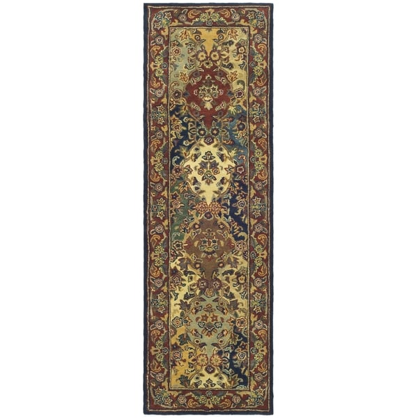 Safavieh Handmade Heritage Timeless Traditional Multicolor/ Burgundy Wool Rug (2'3 x 20')