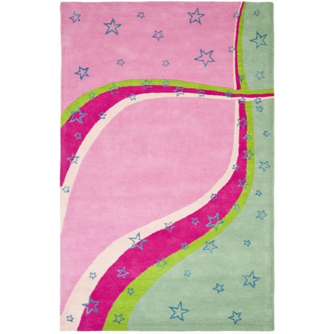 Safavieh Handmade Children's Starlight Pink N. Z. Wool Rug (8' x 10')