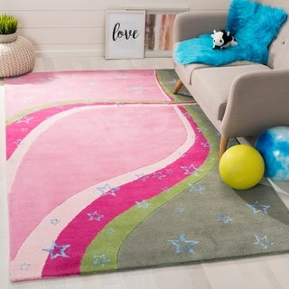 Safavieh Handmade Children's Starlight Pink New Zealand Wool Rug (5' x 8')