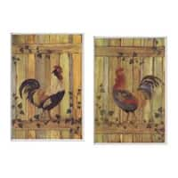 Rooster/Fence Plaques Set of 2 Rect