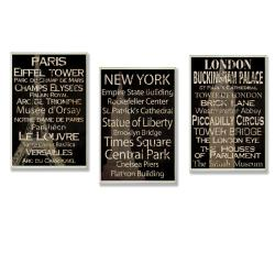 Paris, New York, London Set of 3 Rect