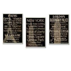 Paris, New York, London Set of 3 Rect