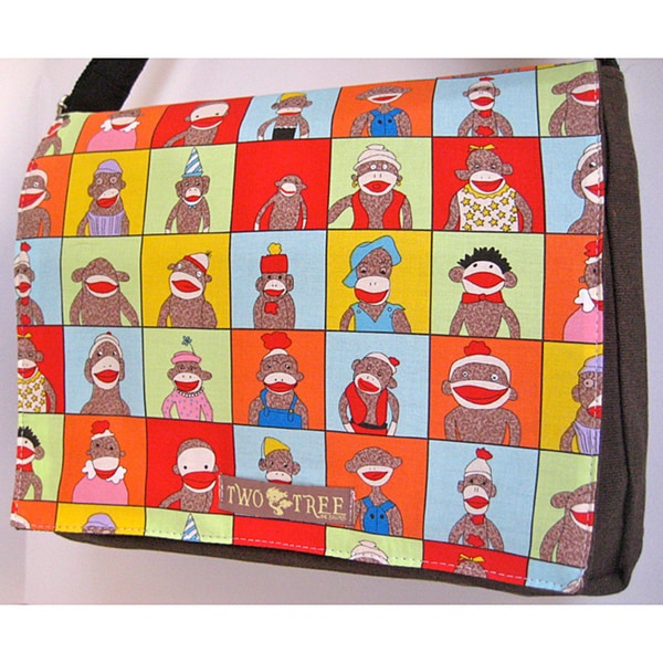Handmade Medium Black Sock Monkey Messenger Bag