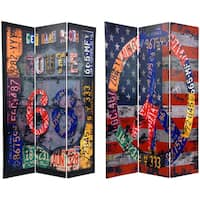Handmade 6-foot Tall Double Sided Americana Room Divider (China)