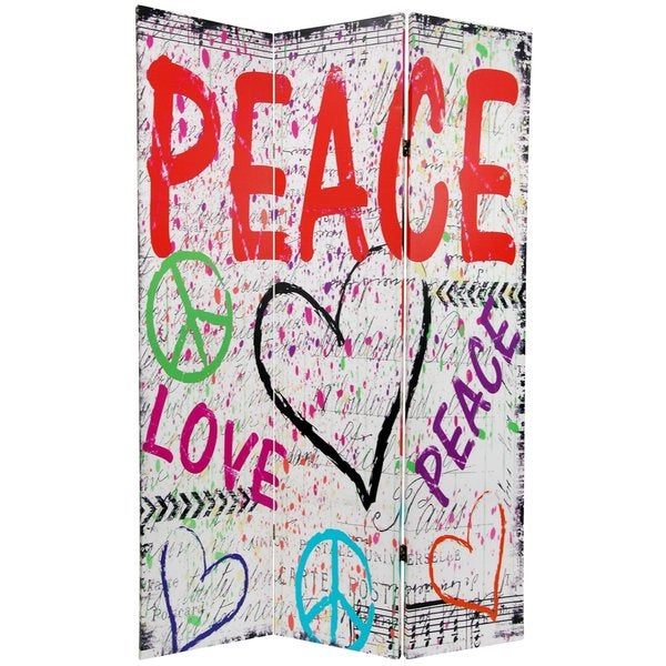 6-foot Tall Double Sided White Peace & Love Room Divider (China)