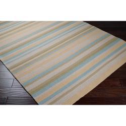 Hand-hooked Davidson Yellow Indoor/Outdoor Stripe Rug (9' x 12') - Thumbnail 1