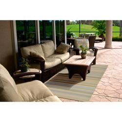 Hand-hooked Davidson Yellow Indoor/Outdoor Stripe Rug (9' x 12') - Thumbnail 2