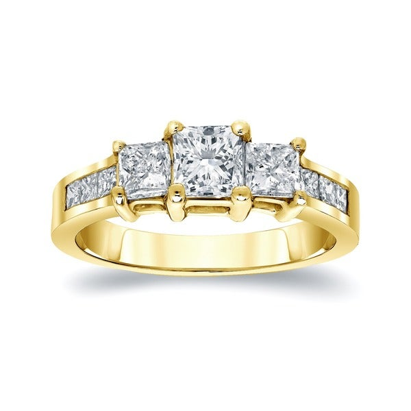 Auriya 14k Gold 1.5ct TDW Princess-cut Diamond 3-stone Engagement Ring