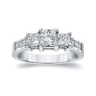 Three Stone 1 1/2ct TDW Princess Cut Diamond Engagement Ring in 14KT Gold by Auriya