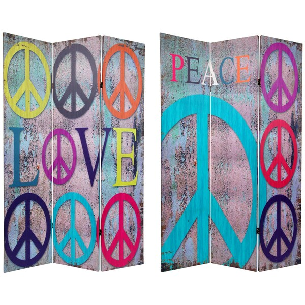 6 ft. Tall Double Sided Multi-Color Peace & Love Room Divider (China)