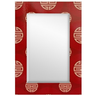 Handmade Red Shou Rectangular Mirror (China)