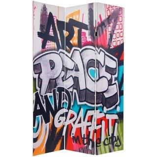 Handmade 6' Canvas Graffiti Room Divider