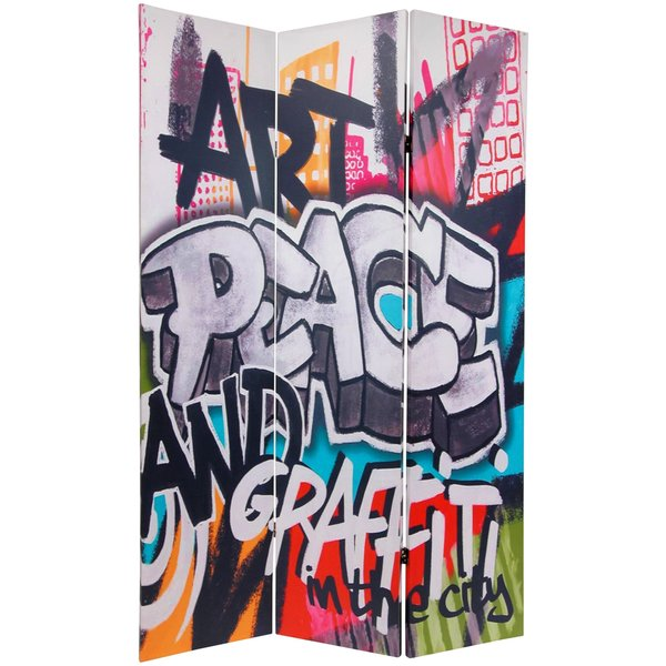 Double-sided 6-foot Graffiti Canvas Room Divider (China)