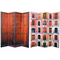 Handmade Double-sided 6-foot Doors 4-panel Canvas Room Divider (China) - 71.25 x 15.75
