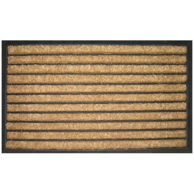Striped Recycled Rubber Coir Doormat