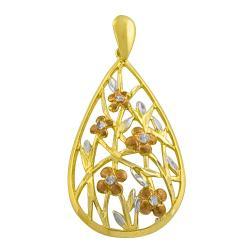 Fremada 14k Tri-color Gold Floral Teardrop Pendant