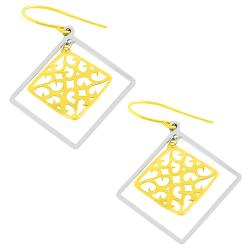 Fremada 14k Two-tone Gold Filigree and Squares Dangle Earrings