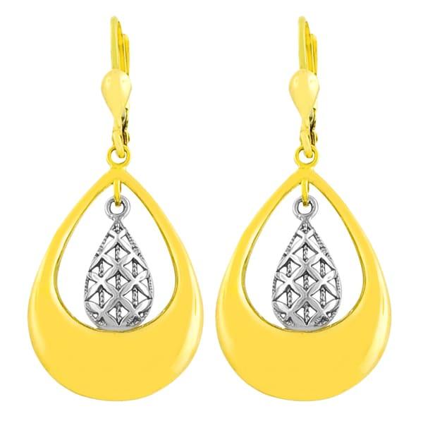 Fremada 14k Two-tone Gold Double Teardrop Filigree Dangle Earrings