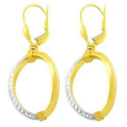 Fremada 14k Two Tone Gold Polished Diamond Cut Oval Dangle Earrings