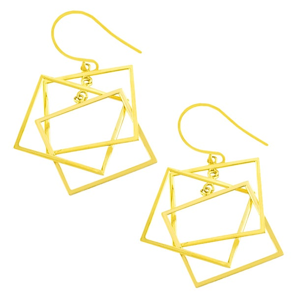 Fremada 14k Yellow Gold Triple Square Dangle Earrings