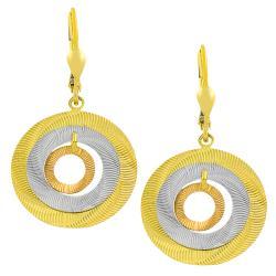 Fremada 14k Tri-color Gold Graduated Open Discs Dangle Earrings