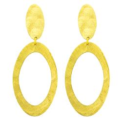 Fremada 14k Yellow Gold Satin Oval Dangle Earrings