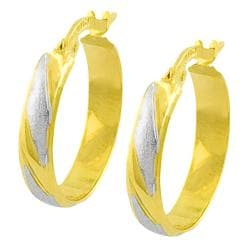 Fremada 14k Two-tone Gold 3x17-mm Polished/ Satin Hoop Earrings