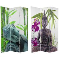Handmade Double-sided 6-foot Serenity Buddha Room Divider (China) - 71.25 x 15.75