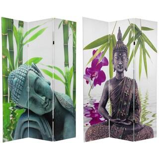 Handmade Double-sided 6-foot Serenity Buddha Room Divider (China) - 71.25 x 15.75