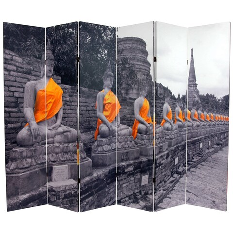 Handmade Double-sided 6-foot Golden Buddhas Room Divider (China)