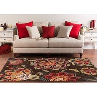 Contemporary Brown Floral Flitwick Area Rug - 5'3 x 7'6
